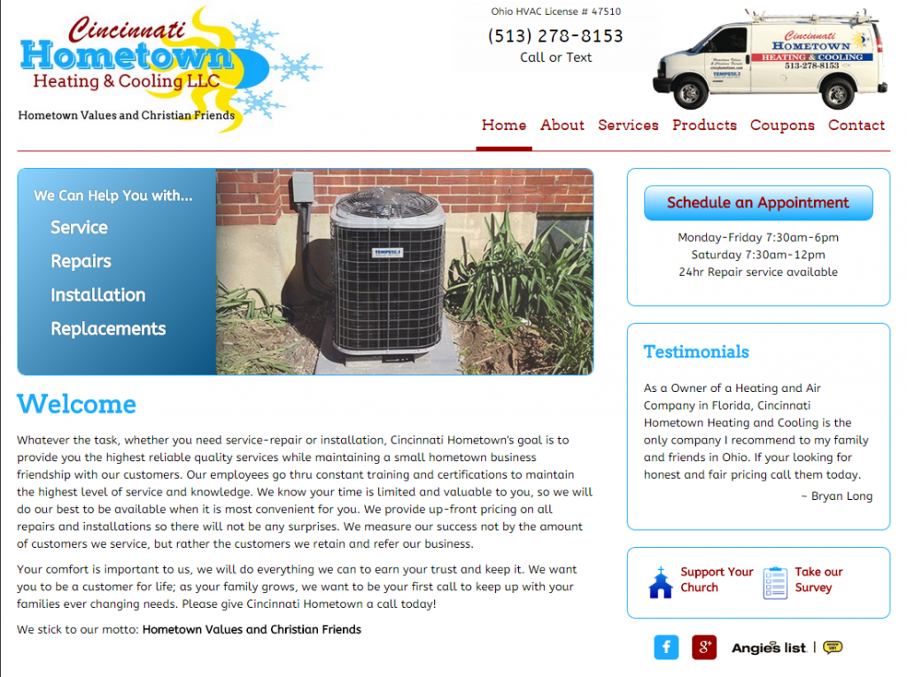 Cincinnati Hometown Heating & Cooling home page